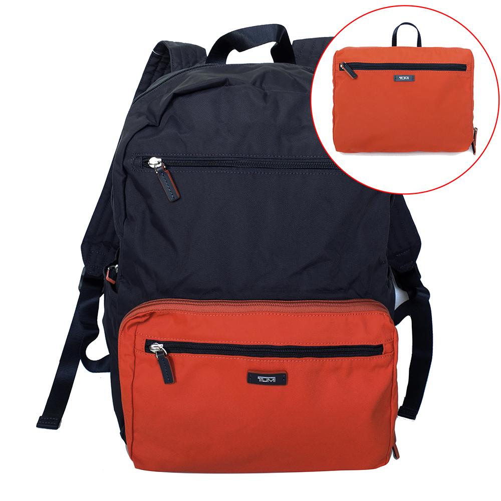 TUMI撞色尼龍材質可收納雙肩後背包深藍橘
