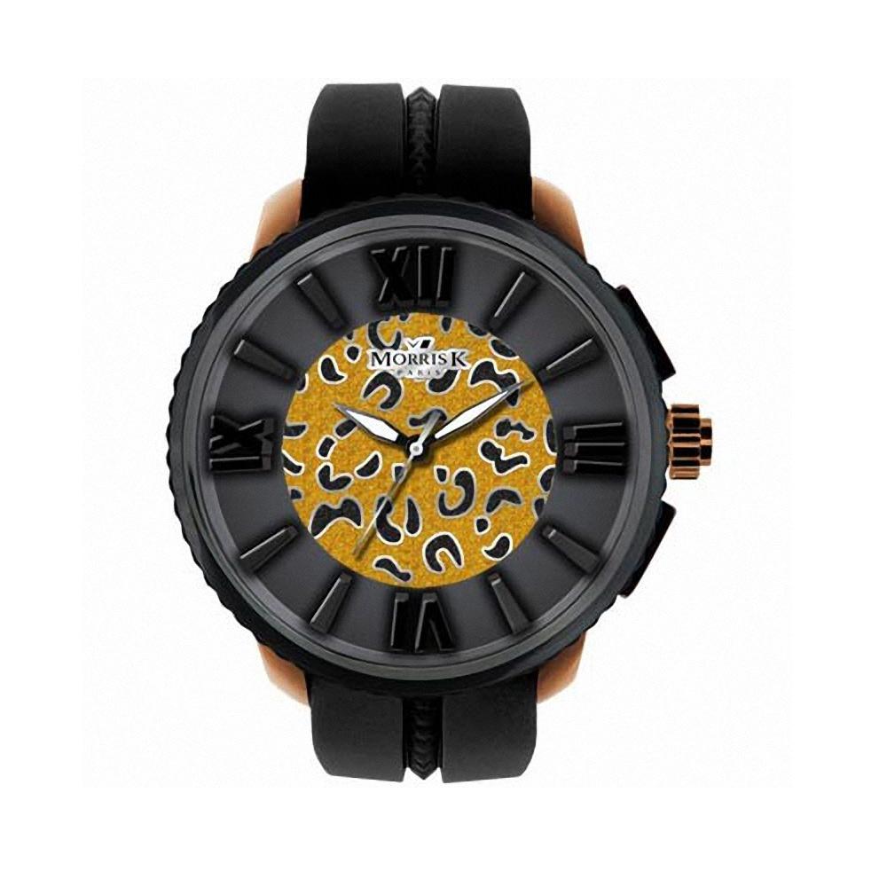 MORRIS K 舞極限狂野花豹紋休閒錶(MK10205-HC03)-夜光x黑金/50mm