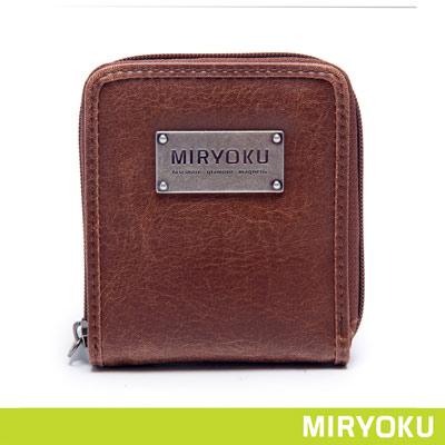 MIRYOKU-經典復古皮革系列-率性拉鍊式短夾-啡