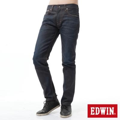 EDWIN 窄直筒 桔布邊505生地牛仔褲-男-原藍磨
