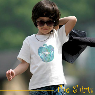 【The Shirts】蠟筆塗鴉蘋果短袖T恤 (白+藍)