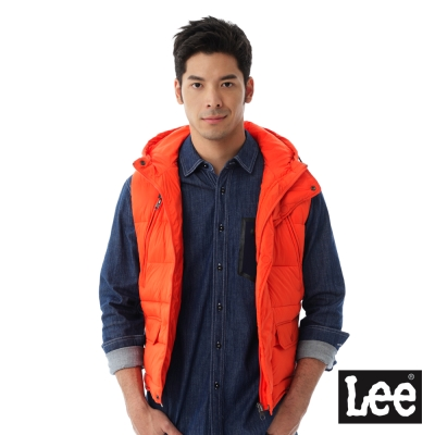 Lee HEAT連帽舖棉背心-男款-橘