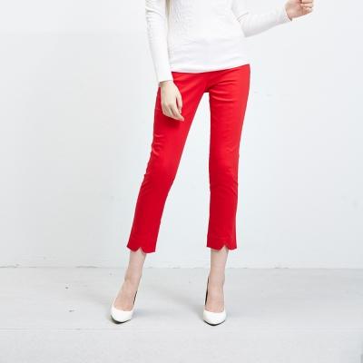 Hana+花木馬 前開岔設計直筒九分小腿長褲-紅