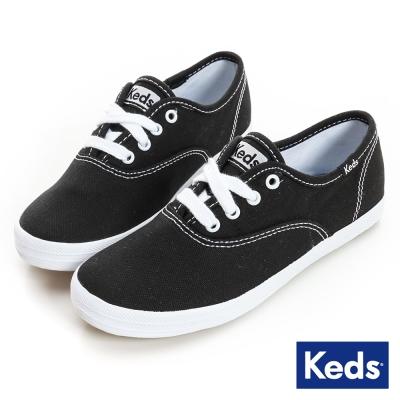 Keds 品牌經典綁帶休閒鞋(For Kids)-黑