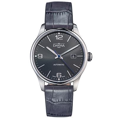 DAVOSA Gentlemen 現代經典紳士系列腕錶-灰面/灰皮帶/40mm