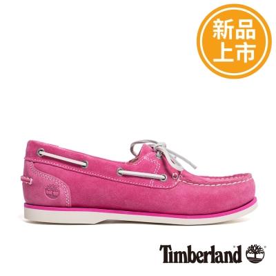Timberland-女款粉紅色壓紋麂皮帆船鞋
