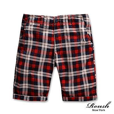 ROUSH 高磅數窄管水洗格紋短褲 (2色)