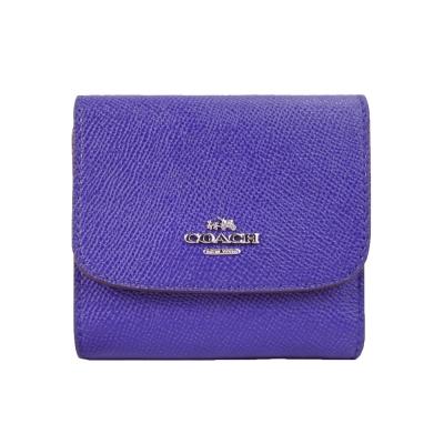 COACH-馬車素面防刮皮革三折短夾-紫
