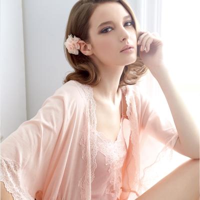 【羅絲美】天仙迷人五分袖薄紗罩衫 (誘人橘)