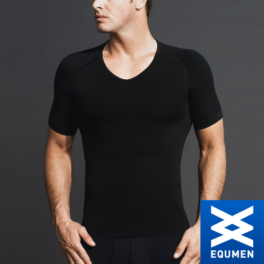 EQUMEN 精緻型男塑身衣-短袖[黑]