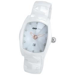 GOTO 簡約晶鑽陶瓷腕錶-白x玫/34mm