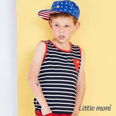 Little moni 經典條紋撞色背心  深藍