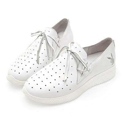 PLAYBOY軟芯風采 綁帶舒適真皮休閒鞋-白