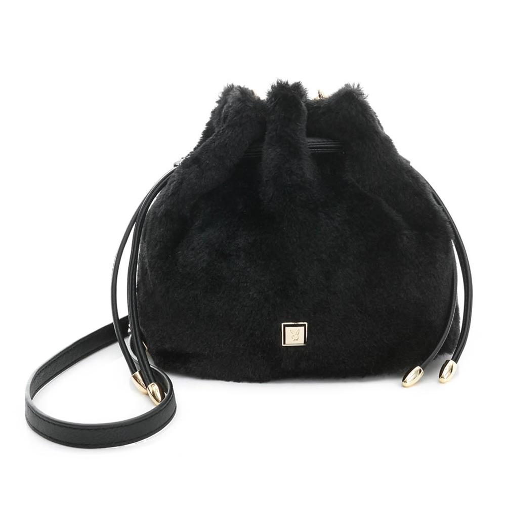 PLAYBOY- 小水桶包 時尚小毛怪系列-時尚黑
