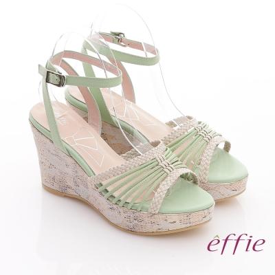effie 輕音躍 全真皮編織條帶楔型涼鞋 綠