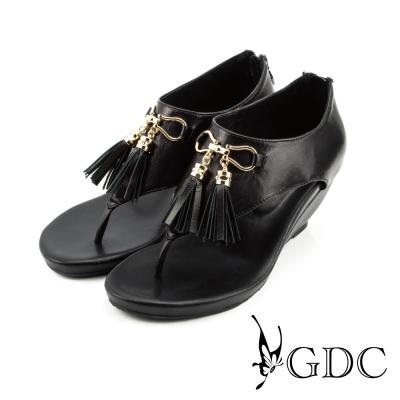 GDC-蝴蝶結流蘇造型夾腳楔型涼鞋-黑色