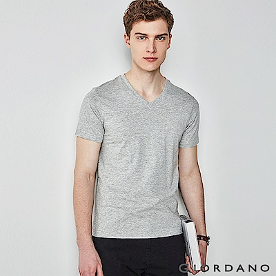 GIORDANO 男裝棉質V領素色短袖T恤-02 中花灰