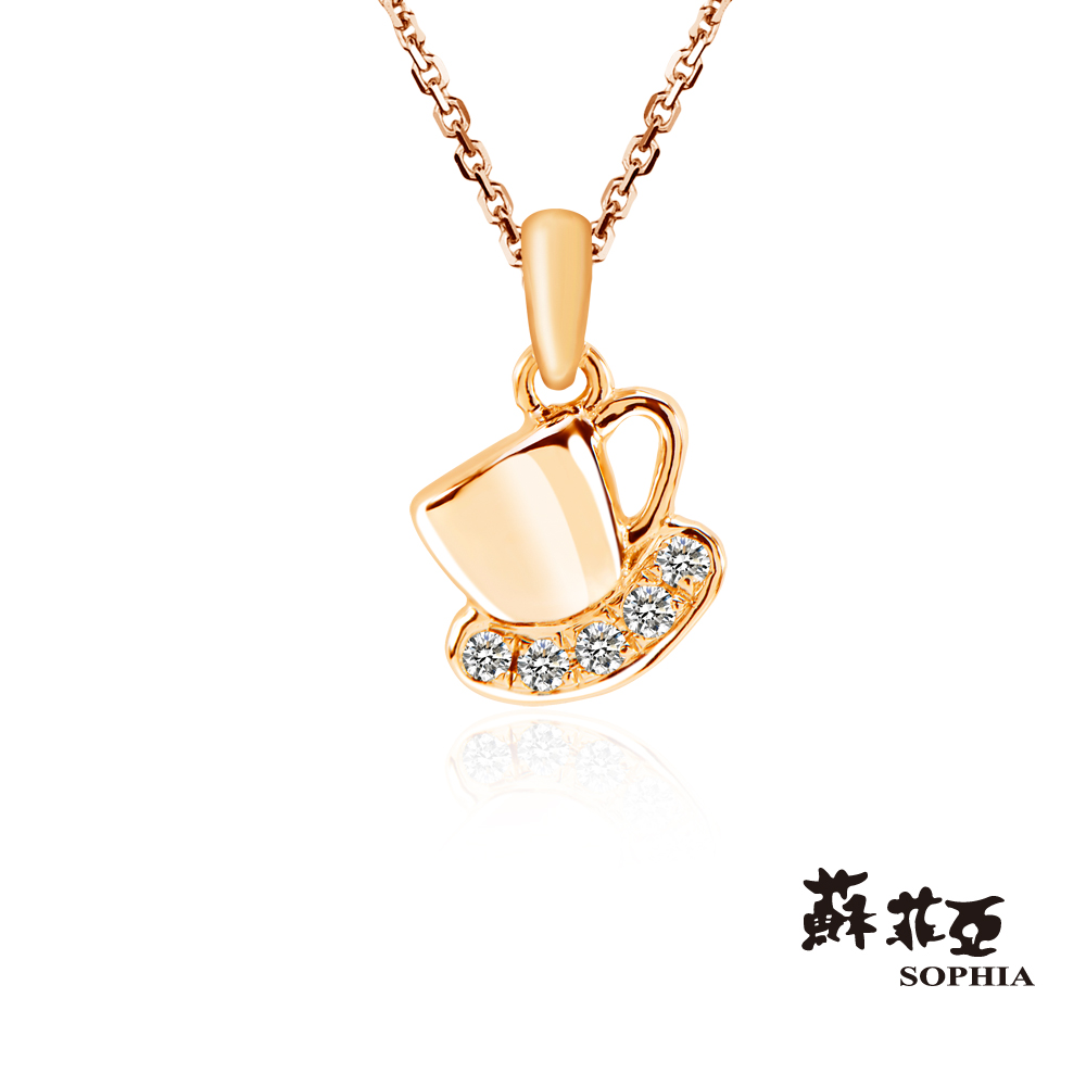 蘇菲亞SOPHIA 鑽石項鍊-造型輕飾品系列 等一個人的咖啡杯玫瑰金鑽鍊
