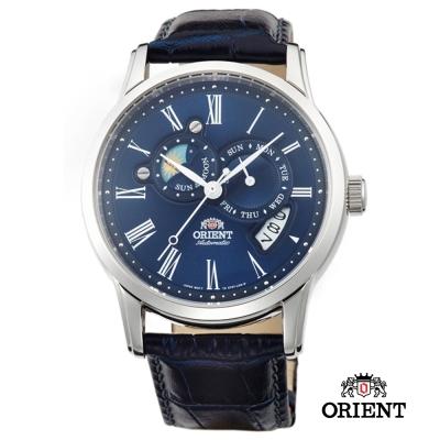 ORIENT 東方錶 SUN&MOON系列 羅馬數字日月相錶-藍色/42mm