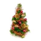 台製迷你1尺(30cm)裝飾綠色聖誕樹(紅金松果色系)