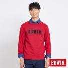 EDWIN 玩味立體LOGO模型長袖T恤-男-紅色