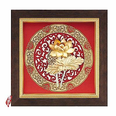 My Gifts-立體金箔畫-荷香蓮花(圓形窗花系列20.5x20.5cm)