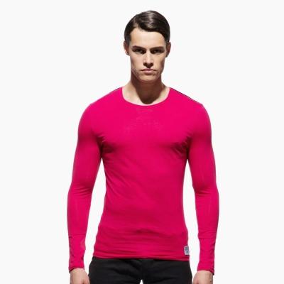 P.S極簡螢光肩條舒適型男圓領長袖T恤(紅色),Private Structure