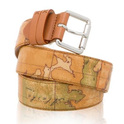 Alviero Martini 義大利地圖包 地圖銀扣皮帶-地圖黃 3.5W