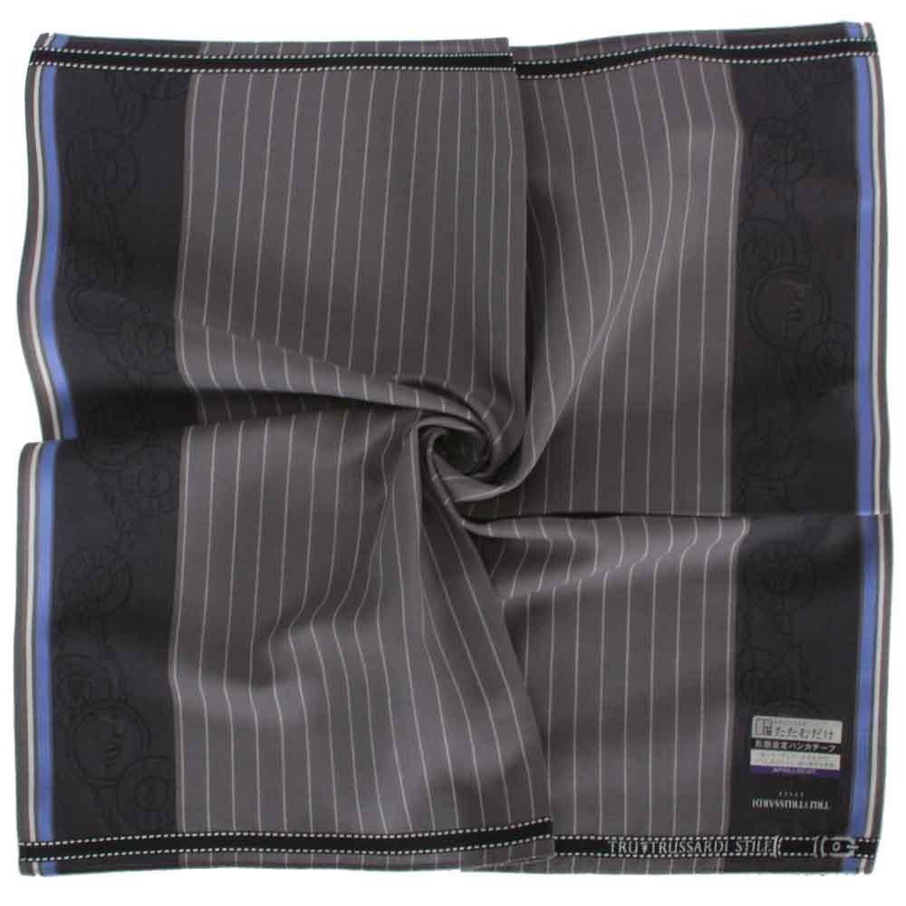 TRUSSARDI 直紋圓徽純棉帕巾-黑灰