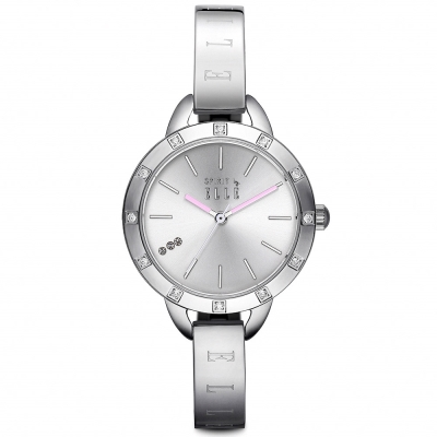 ELLE 優雅晶鑽不繡鋼時尚纖細腕錶-銀/30mm