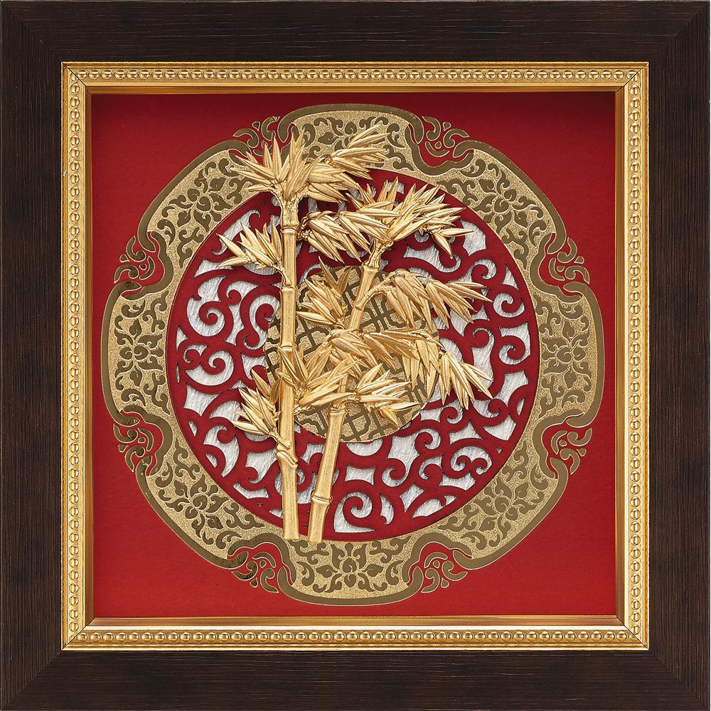金箔畫 純金 圓形窗花系列 竹報平安【節節高陞】...21x21cm