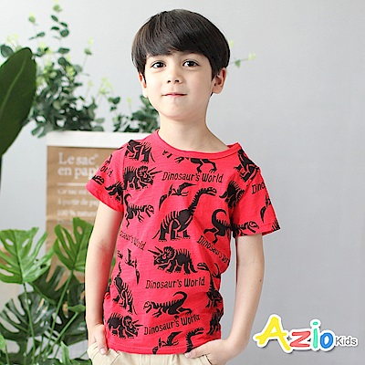 Azio Kids 童裝-上衣 多款恐龍剪影竹節棉短袖T恤(紅)