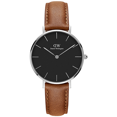 DW Daniel Wellington 經典杜倫淡棕色皮帶腕錶-銀框/32mm