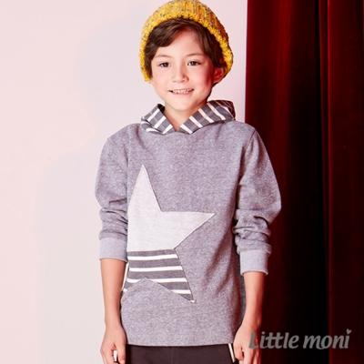 Little moni 條紋拼接星星連帽上衣 (共2色)