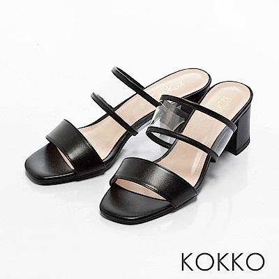 KOKKO-性感透膚環帶方頭粗跟涼拖鞋-經典黑