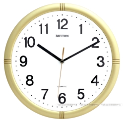 RHYTHM 麗聲 高CP值簡約滑動指針靜音掛鐘-未來金/28cm