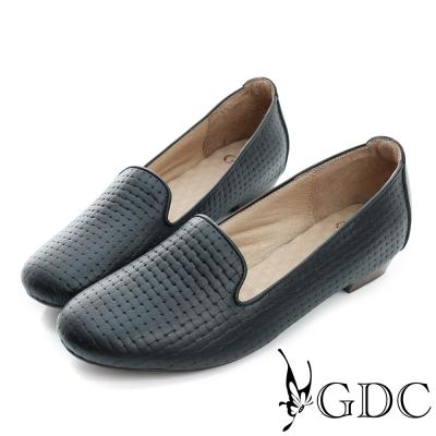 GDC-質感編織紋真皮低跟休閒懶人鞋-黑色
