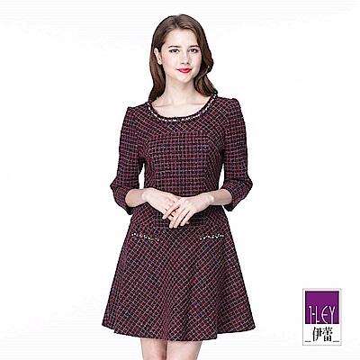 ILEY伊蕾 格紋剪接鑲蔥圓領洋裝(紫)