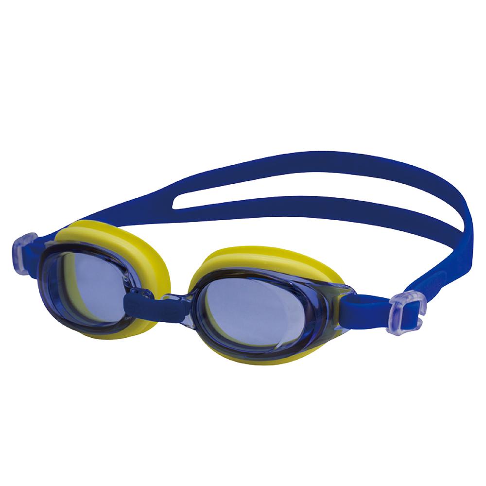【SWANS 日本】專業光學兒童專用泳鏡 ( 防霧/抗UV/矽膠 SJ-7 黃/藍)