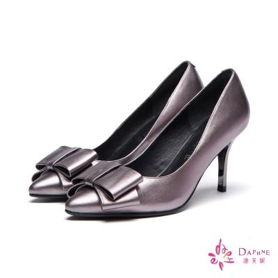 達芙妮DAPHNE-高跟鞋-全真皮牛皮蝴蝶結尖頭鞋