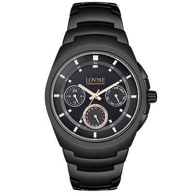 LOVME 潮流魅力時尚手錶-IP黑x玫圈/43mm