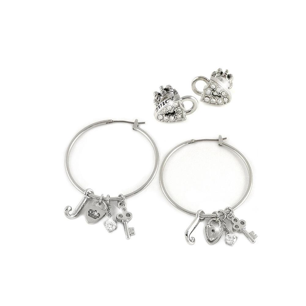JUICY COUTURE 愛心鎖頭造型墜飾晶鑽雙耳環組合