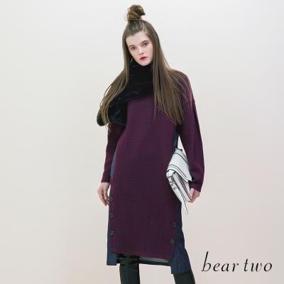 beartwo 緹織格紋拼接牛仔縫釦造型洋裝(二色)-動態show