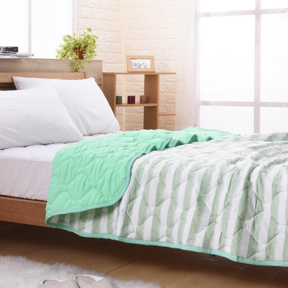 喬曼帝Jumendi 超涼感纖維針織涼被(4x5尺)-條紋綠