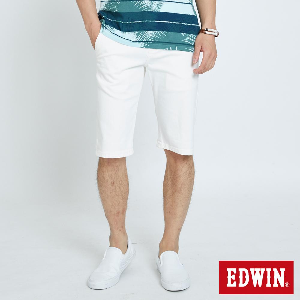 EDWIN 基本鈄袋休閒短褲-男-白色