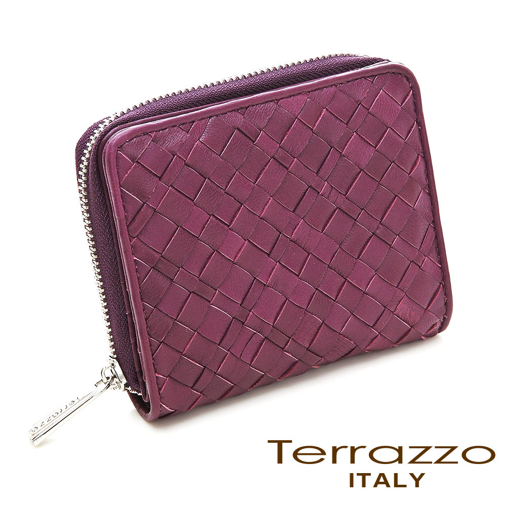 義大利Terrazzo - 手工編織菱格紋短夾 -紫紅色71G0093A