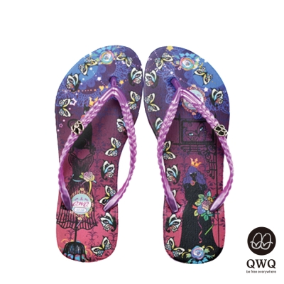 QWQ夾拖的創意(女)-Cat Princess側鑽夾腳拖-紫