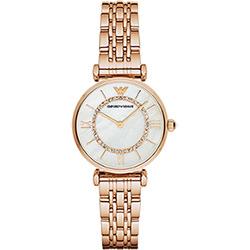 Emporio Armani Ladies 羅馬晶鑽石英錶-珍珠貝x玫瑰金/32mm