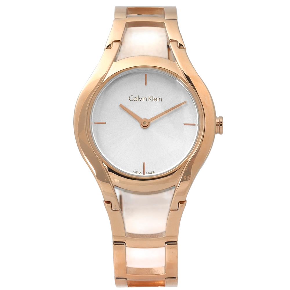 CK Stately當代優雅精緻不鏽鋼手錶 -銀x鍍玫瑰金 /32mm