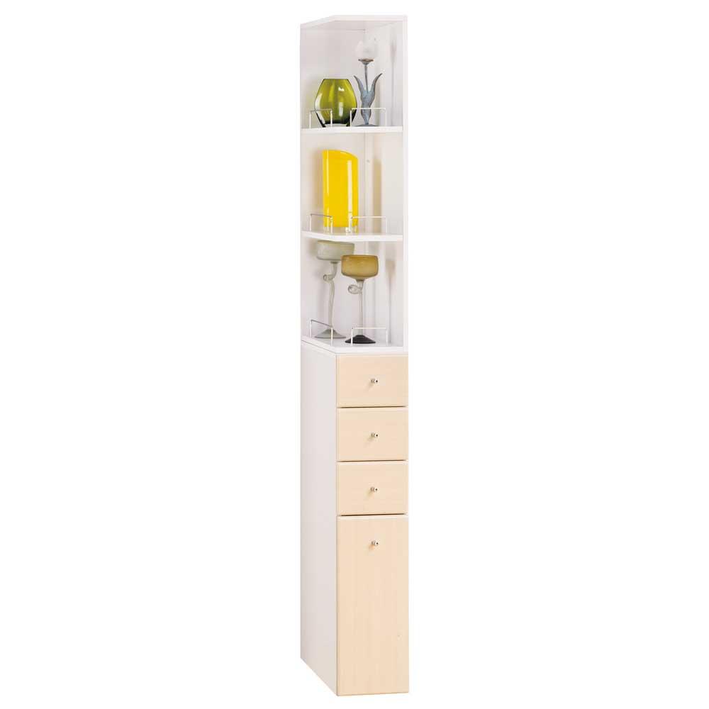 米妮Mini 小細縫角落/抽屜收納櫃組-白橡色